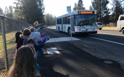 Elk Meadow students take a bus ride in Bend
