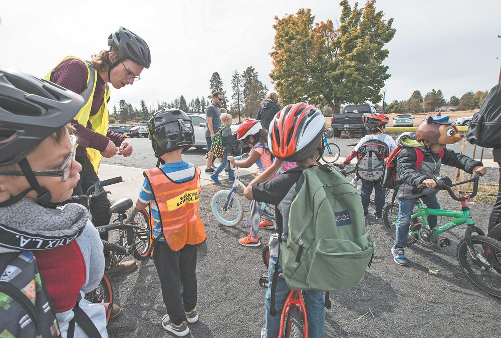 Scenes from Walk + Roll to School month